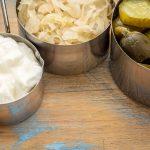 sauerkraut, cucumber pickles and yogurt - popular probiotic ferm